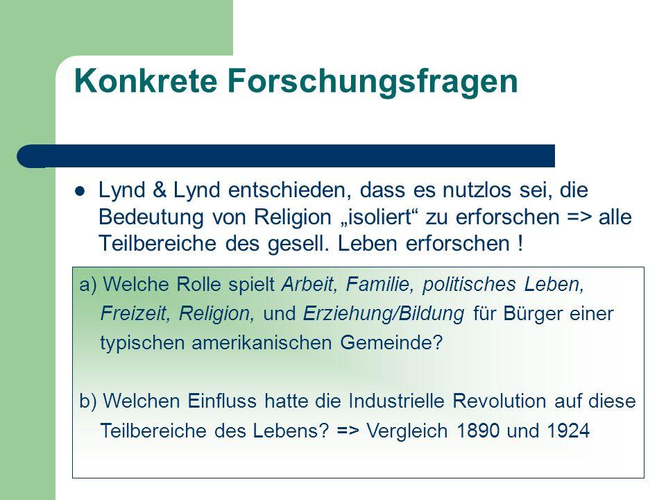 Konkrete Forschungsfragen Lynd & Lynd entschieden, dass es nutzlos sei, die Bedeutung von Religion isoliert zu erforschen => alle Teilbereiche des ges