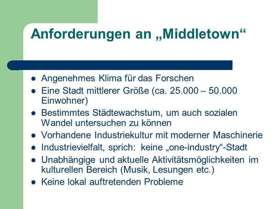 Anforderungen an Middletown Angenehmes Klima für das Forschen Eine Stadt mittlerer Größe (ca. 25.000 – 50.000 Einwohner) Bestimmtes Städtewachstum, um