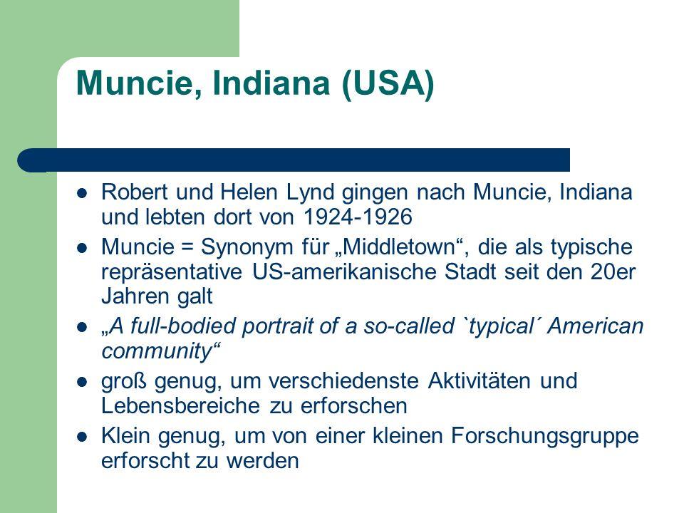 Muncie, Indiana (USA) Robert und Helen Lynd gingen nach Muncie, Indiana und lebten dort von 1924-1926 Muncie = Synonym für Middletown, die als typisch
