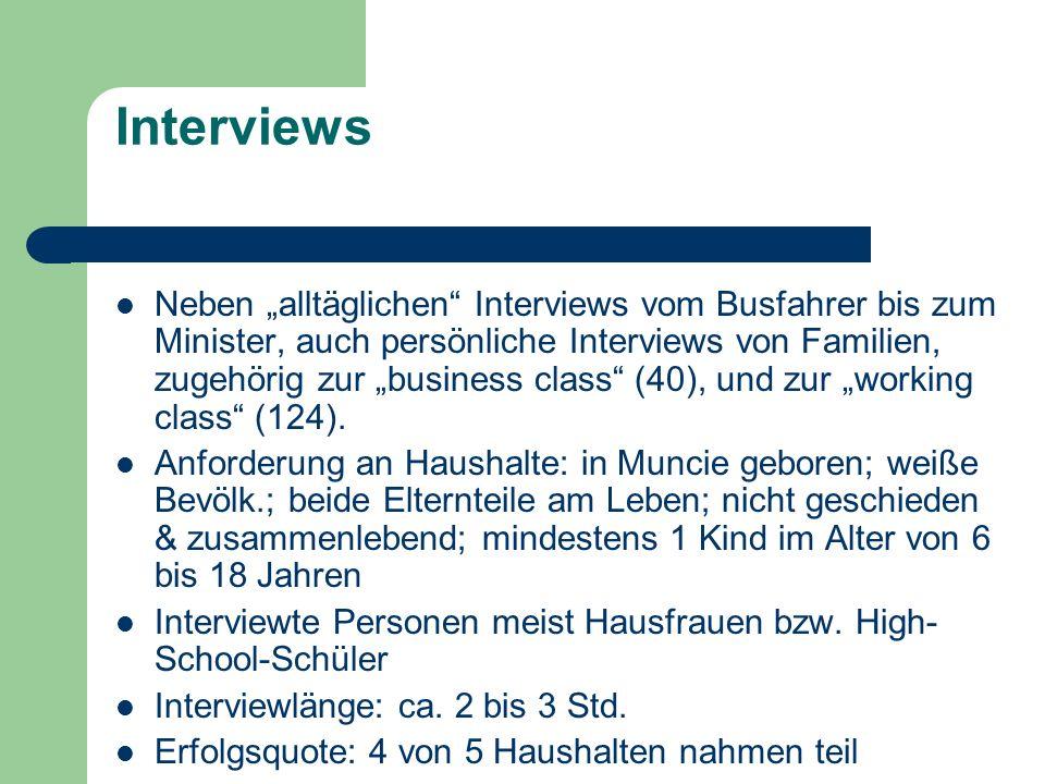Interviews Neben alltäglichen Interviews vom Busfahrer bis zum Minister, auch persönliche Interviews von Familien, zugehörig zur business class (40),
