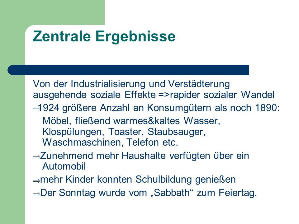 Zentrale Ergebnisse Von der Industrialisierung und Verstädterung ausgehende soziale Effekte =>rapider sozialer Wandel 1924 größere Anzahl an Konsumgüt
