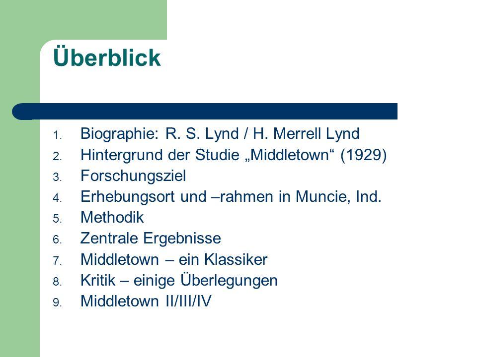 Überblick 1. Biographie: R. S. Lynd / H. Merrell Lynd 2. Hintergrund der Studie Middletown (1929) 3. Forschungsziel 4. Erhebungsort und –rahmen in Mun