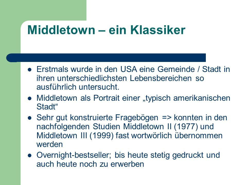 Middletown – ein Klassiker Erstmals wurde in den USA eine Gemeinde / Stadt in ihren unterschiedlichsten Lebensbereichen so ausführlich untersucht. Mid