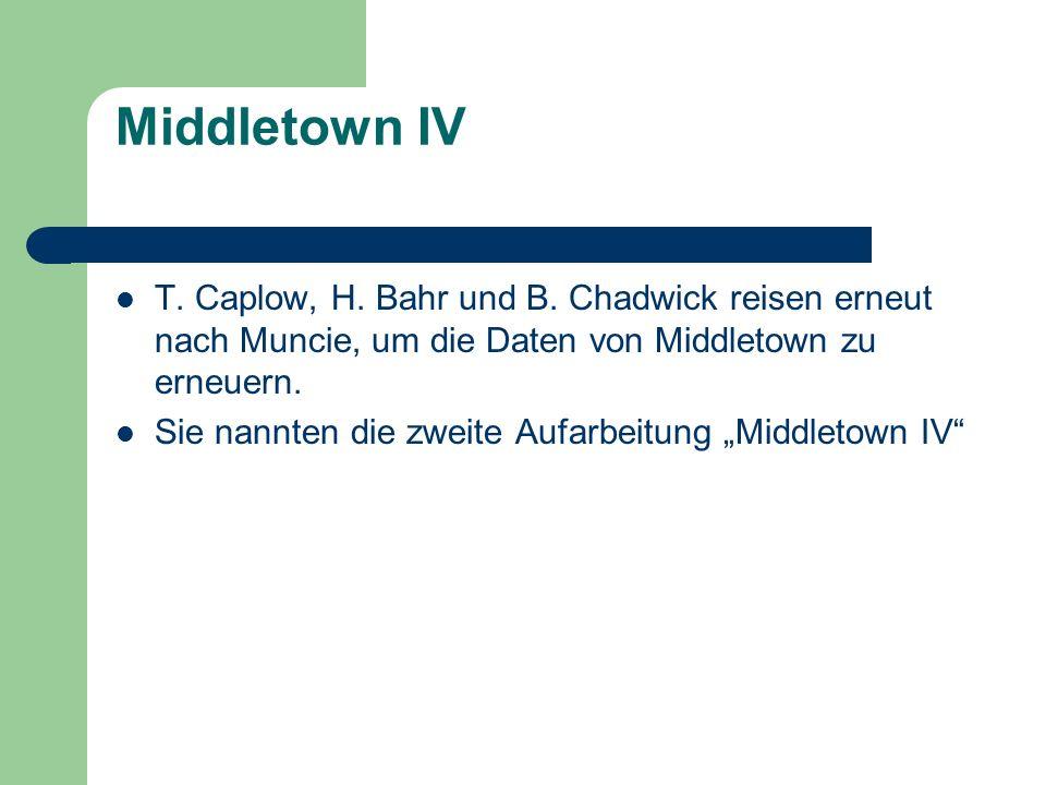 Middletown IV T. Caplow, H. Bahr und B. Chadwick reisen erneut nach Muncie, um die Daten von Middletown zu erneuern. Sie nannten die zweite Aufarbeitu