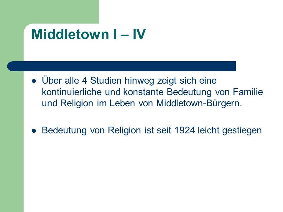 Middletown I – IV Über alle 4 Studien hinweg zeigt sich eine kontinuierliche und konstante Bedeutung von Familie und Religion im Leben von Middletown-