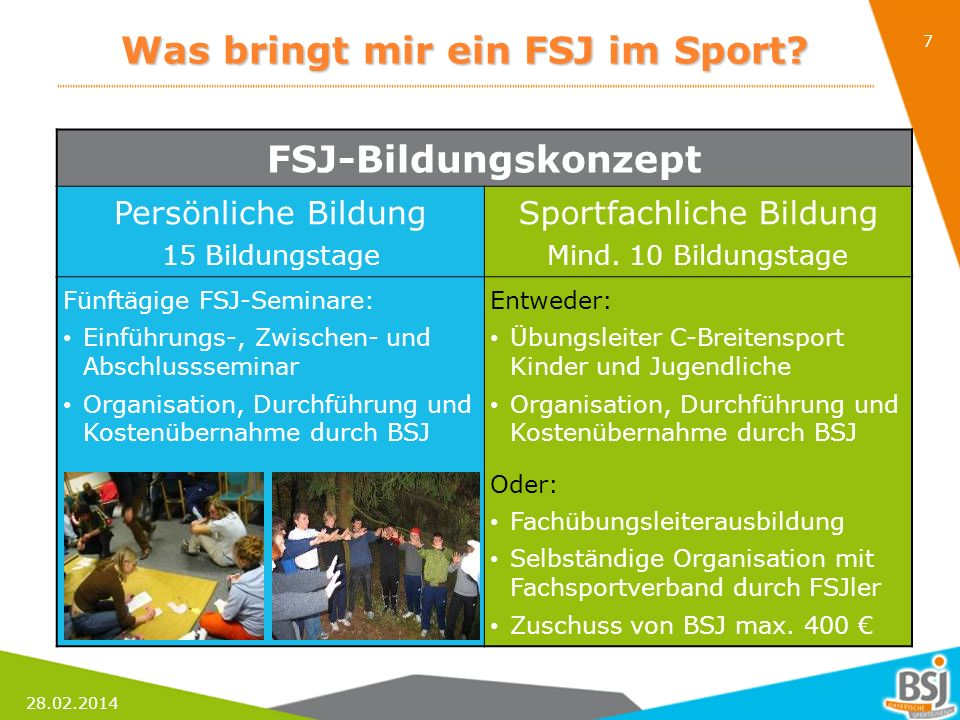 28.02.2014 7 Was bringt mir ein FSJ im Sport? FSJ-Bildungskonzept Persönliche BildungSportfachliche Bildung 15 BildungstageMind. 10 Bildungstage Fünft
