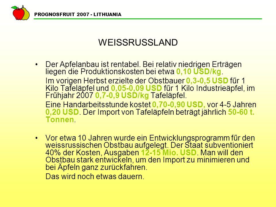 PROGNOSFRUIT 2007 - LITHUANIA WEISSRUSSLAND Der Apfelanbau ist rentabel.