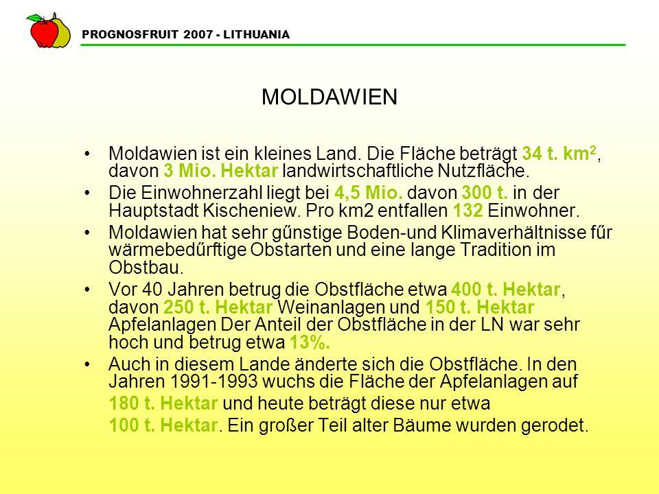 PROGNOSFRUIT 2007 - LITHUANIA MOLDAWIEN Moldawien ist ein kleines Land.