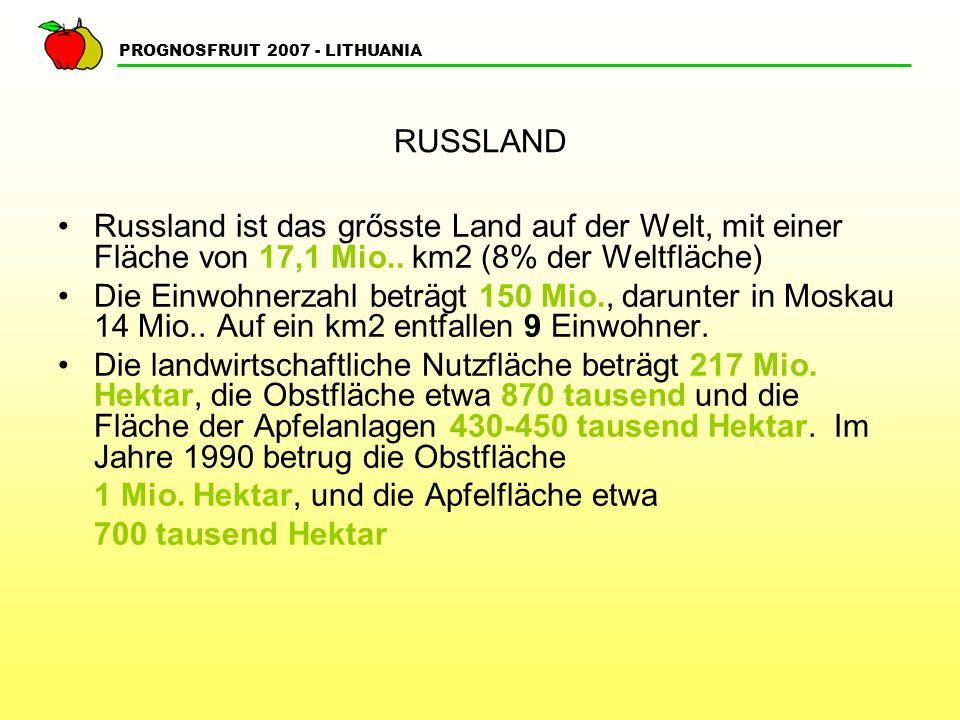 PROGNOSFRUIT 2007 - LITHUANIA RUSSLAND Die Obstproduktion betrug im Jahre 1990 etwa 4,5 Mio.