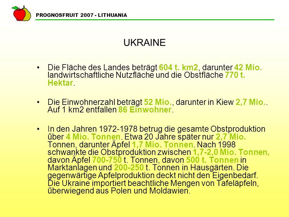 PROGNOSFRUIT 2007 - LITHUANIA UKRAINE Auch in der Ukraine ist die Apfelproduktion sehr rentabel.