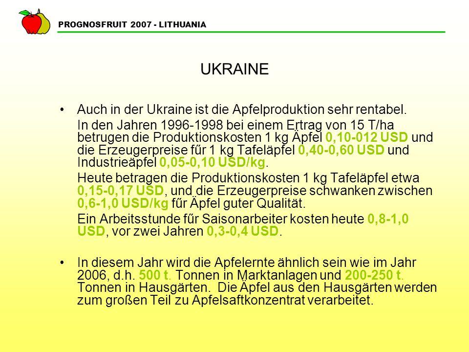 PROGNOSFRUIT 2007 - LITHUANIA UKRAINE Jetzt werden in der Ukraine auf grőßeren Flächen moderne Apfelanlagen angelegt mit etwas Unterstützung vom Staat durch Subventionen.