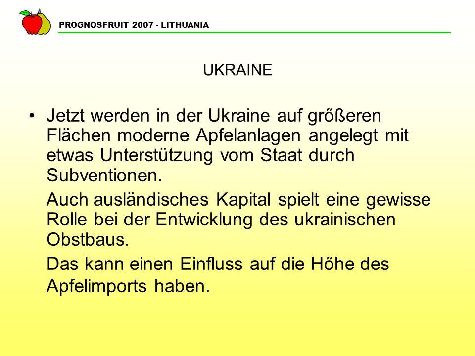 PROGNOSFRUIT 2007 - LITHUANIA WEISSRUSSLAND Die Landesfläche beträgt 208 t.