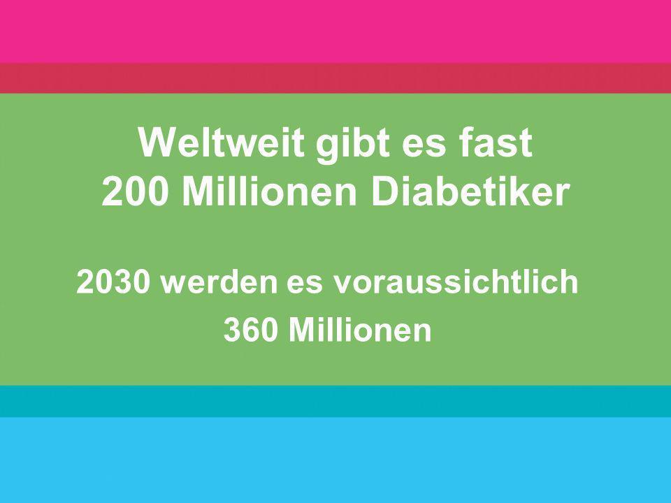 Weltweit gibt es fast 200 Millionen Diabetiker 2030 werden es voraussichtlich 360 Millionen