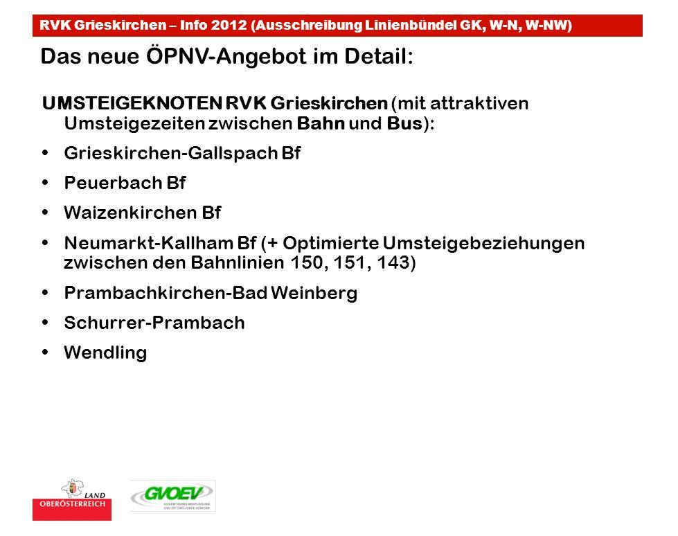RVK Grieskirchen – Info 2012 (Ausschreibung Linienbündel GK, W-N, W-NW) Das neue ÖPNV-Angebot im Detail: UMSTEIGEKNOTEN RVK Grieskirchen (mit attrakti