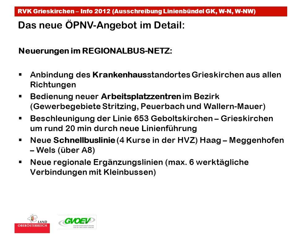 RVK Grieskirchen – Info 2012 (Ausschreibung Linienbündel GK, W-N, W-NW) Neuerungen im REGIONALBUS-NETZ: Anbindung des Krankenhausstandortes Grieskirch