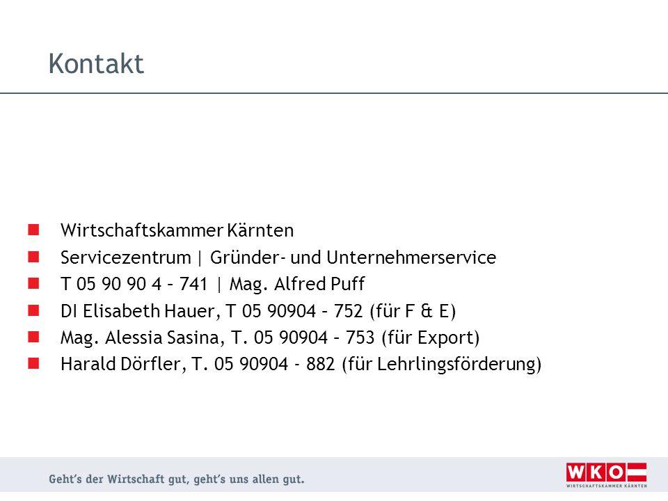 Kontakt Wirtschaftskammer Kärnten Servicezentrum | Gründer- und Unternehmerservice T 05 90 90 4 – 741 | Mag. Alfred Puff DI Elisabeth Hauer, T 05 9090