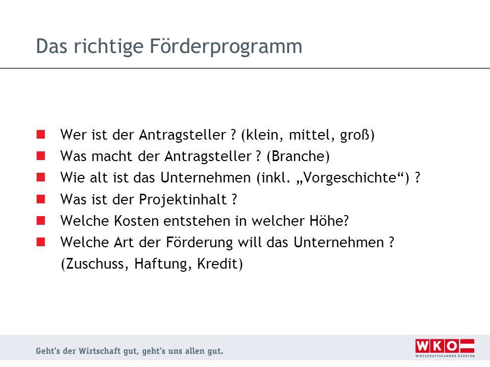 Die Förderstellen Auf Bundesebene: Austria Wirtschaftsservice (AWS)- für alle außer Tourismus Österr.