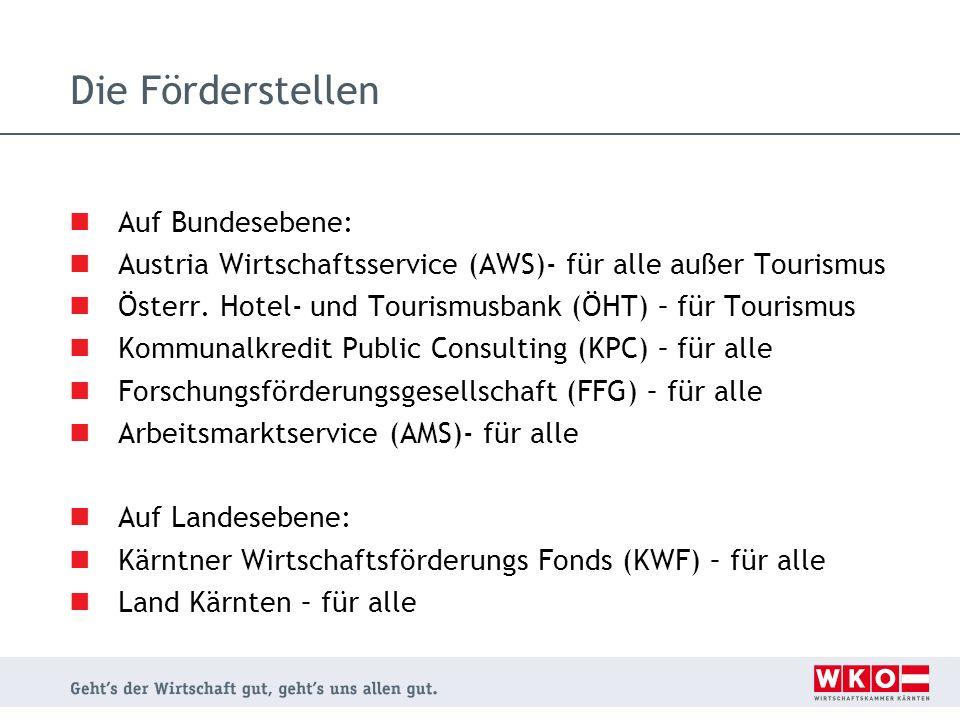 Die Förderstellen Auf Bundesebene: Austria Wirtschaftsservice (AWS)- für alle außer Tourismus Österr. Hotel- und Tourismusbank (ÖHT) – für Tourismus K