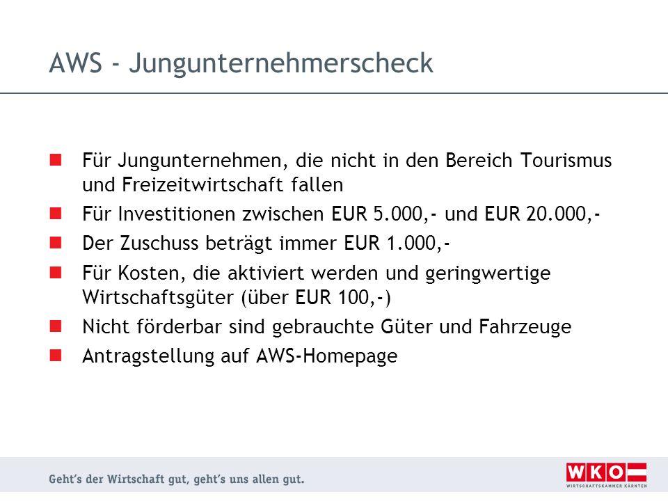 AWS - Jungunternehmerscheck Für Jungunternehmen, die nicht in den Bereich Tourismus und Freizeitwirtschaft fallen Für Investitionen zwischen EUR 5.000