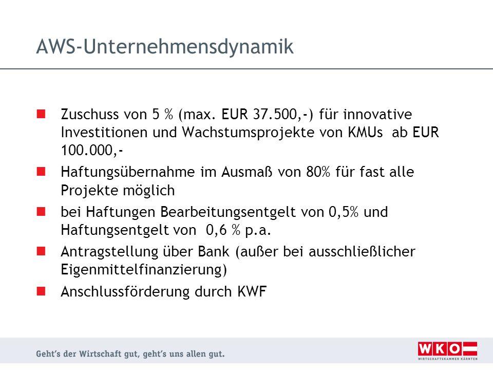 AWS-Unternehmensdynamik Zuschuss von 5 % (max. EUR 37.500,-) für innovative Investitionen und Wachstumsprojekte von KMUs ab EUR 100.000,- Haftungsüber