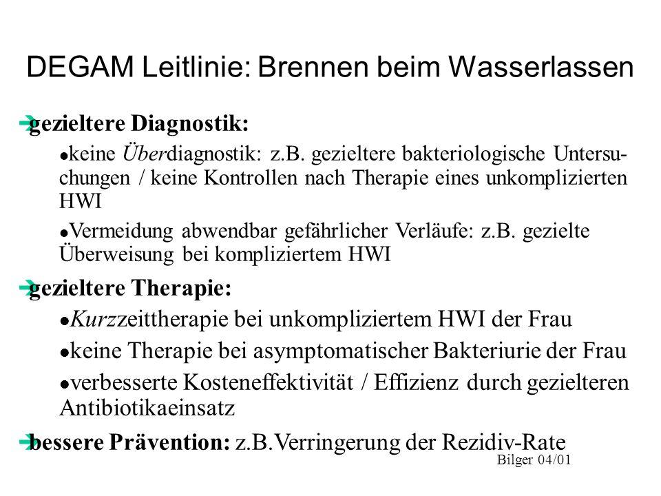Bilger 04/01 DEGAM Leitlinie: Brennen beim Wasserlassen è gezieltere Diagnostik: l keine Überdiagnostik: z.B. gezieltere bakteriologische Untersu- chu