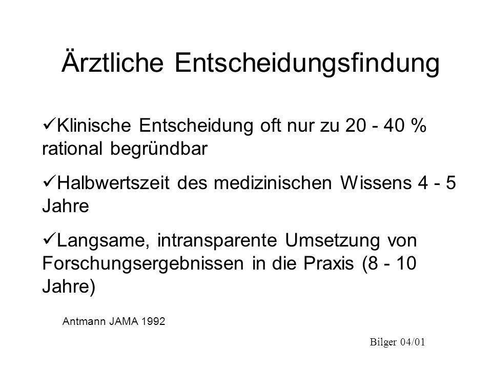 Bilger 04/01 Ärztliche Entscheidungsfindung Antmann JAMA 1992 Klinische Entscheidung oft nur zu 20 - 40 % rational begründbar Halbwertszeit des medizi