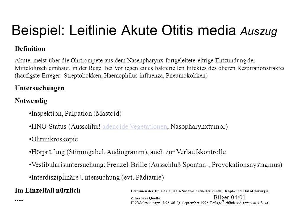 Bilger 04/01 Beispiel: Leitlinie Akute Otitis media Auszug Definition Akute, meist über die Ohrtrompete aus dem Nasenpharynx fortgeleitete eitrige Ent