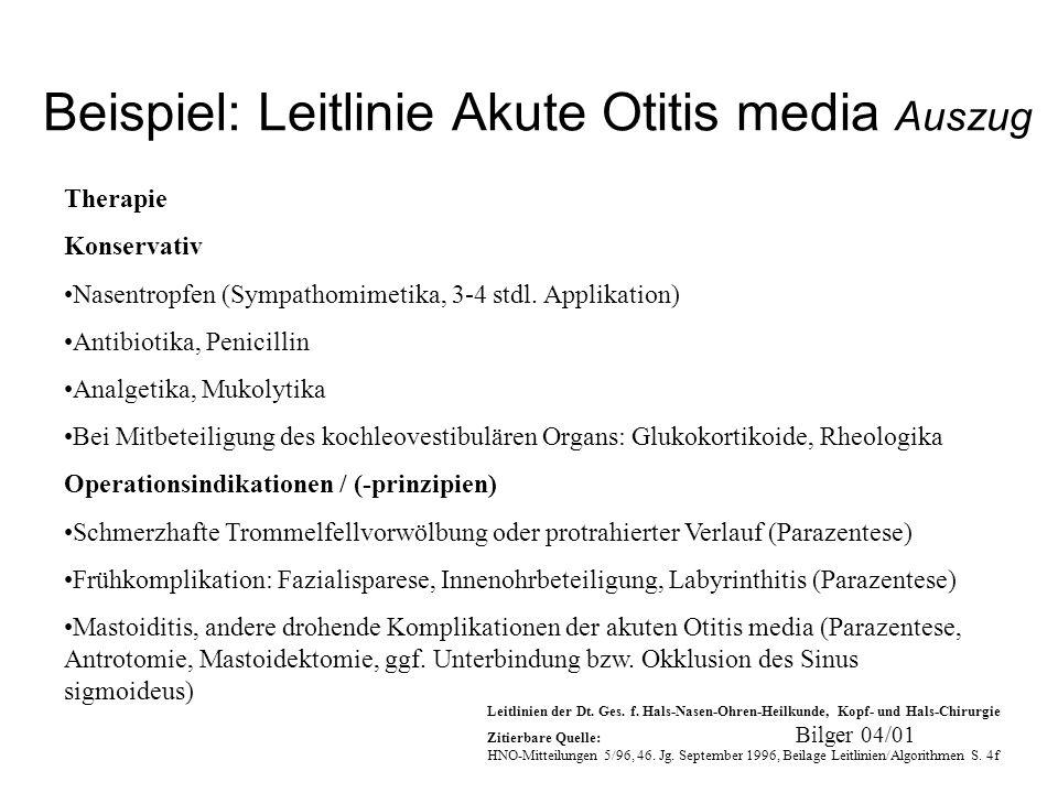 Bilger 04/01 Beispiel: Leitlinie Akute Otitis media Auszug Therapie Konservativ Nasentropfen (Sympathomimetika, 3-4 stdl. Applikation) Antibiotika, Pe