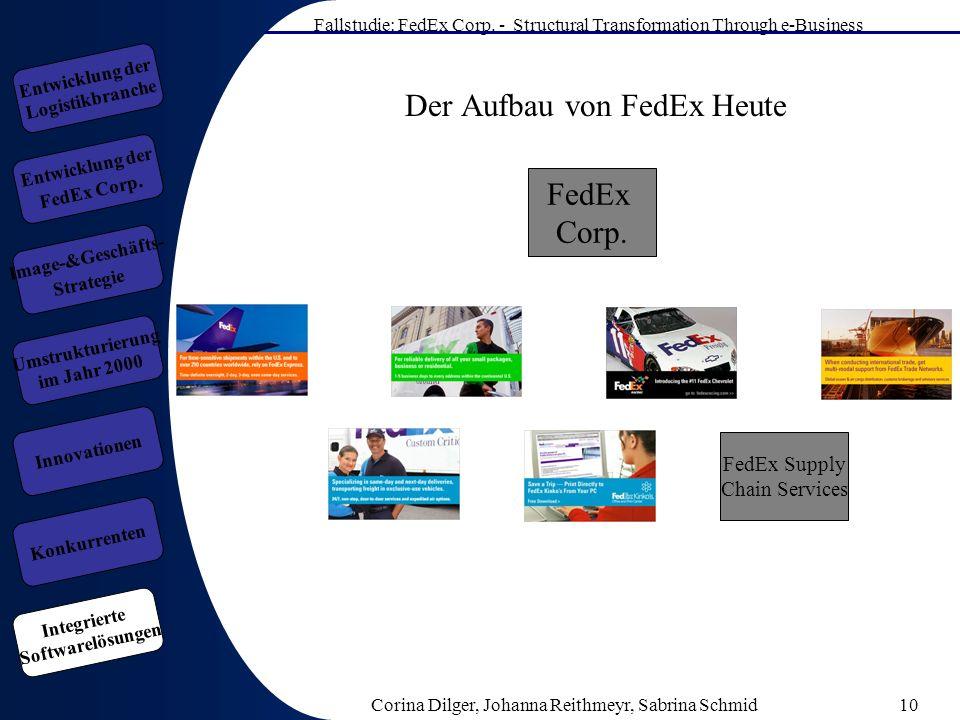 Fallstudie: FedEx Corp. - Structural Transformation Through e-Business Corina Dilger, Johanna Reithmeyr, Sabrina Schmid10 Der Aufbau von FedEx Heute F