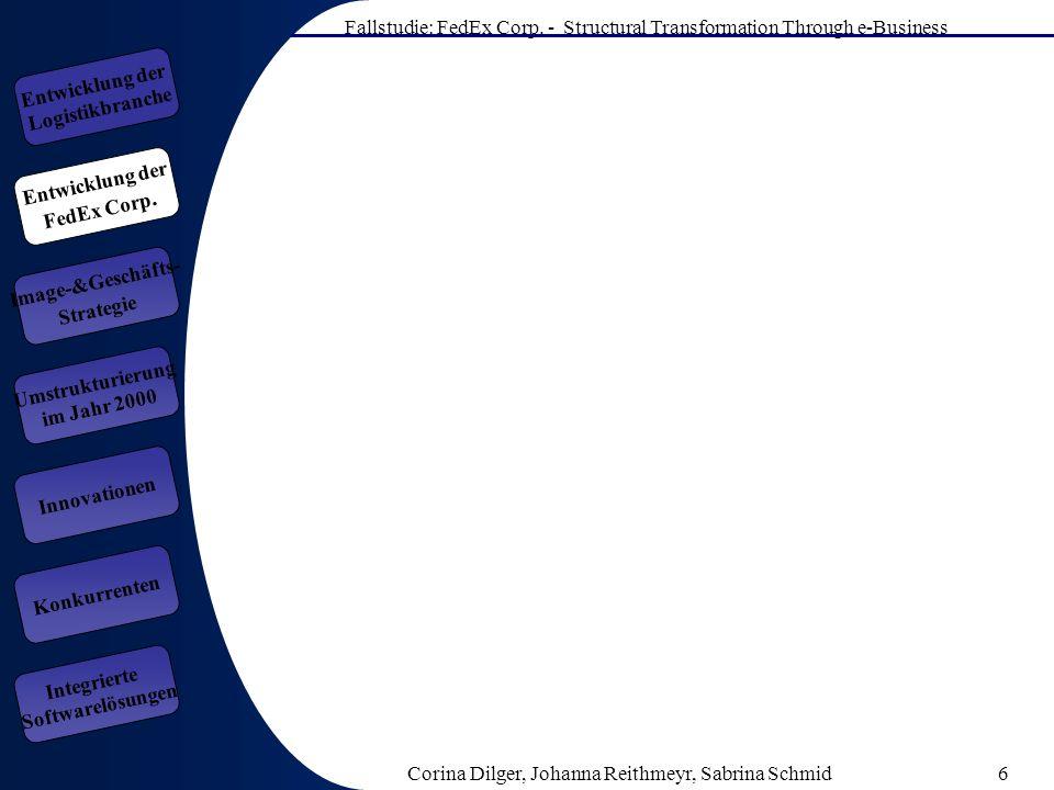 Fallstudie: FedEx Corp. - Structural Transformation Through e-Business Corina Dilger, Johanna Reithmeyr, Sabrina Schmid6 Entwicklung der FedEx Corp. E