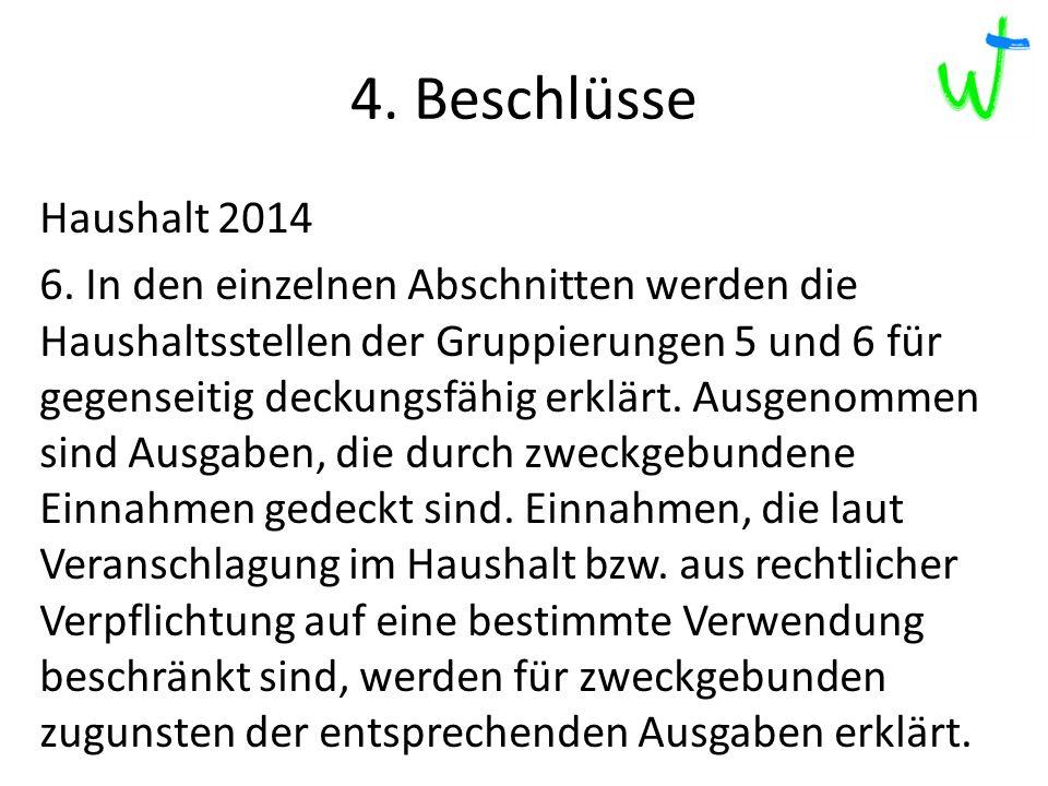 4. Beschlüsse 2013 2012 2015 217 Haushalt 2014 6.
