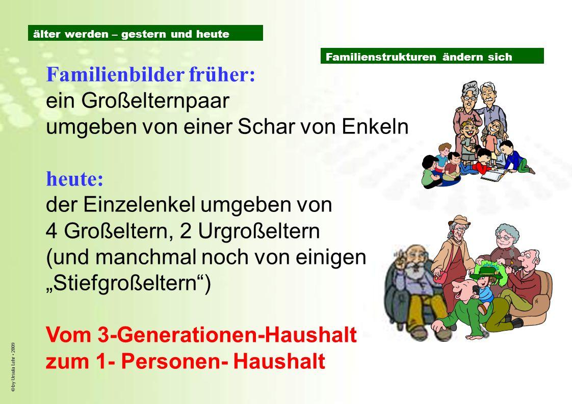 © by Ursula Lehr 2009 Familienbilder früher: ein Großelternpaar umgeben von einer Schar von Enkeln heute: der Einzelenkel umgeben von 4 Großeltern, 2