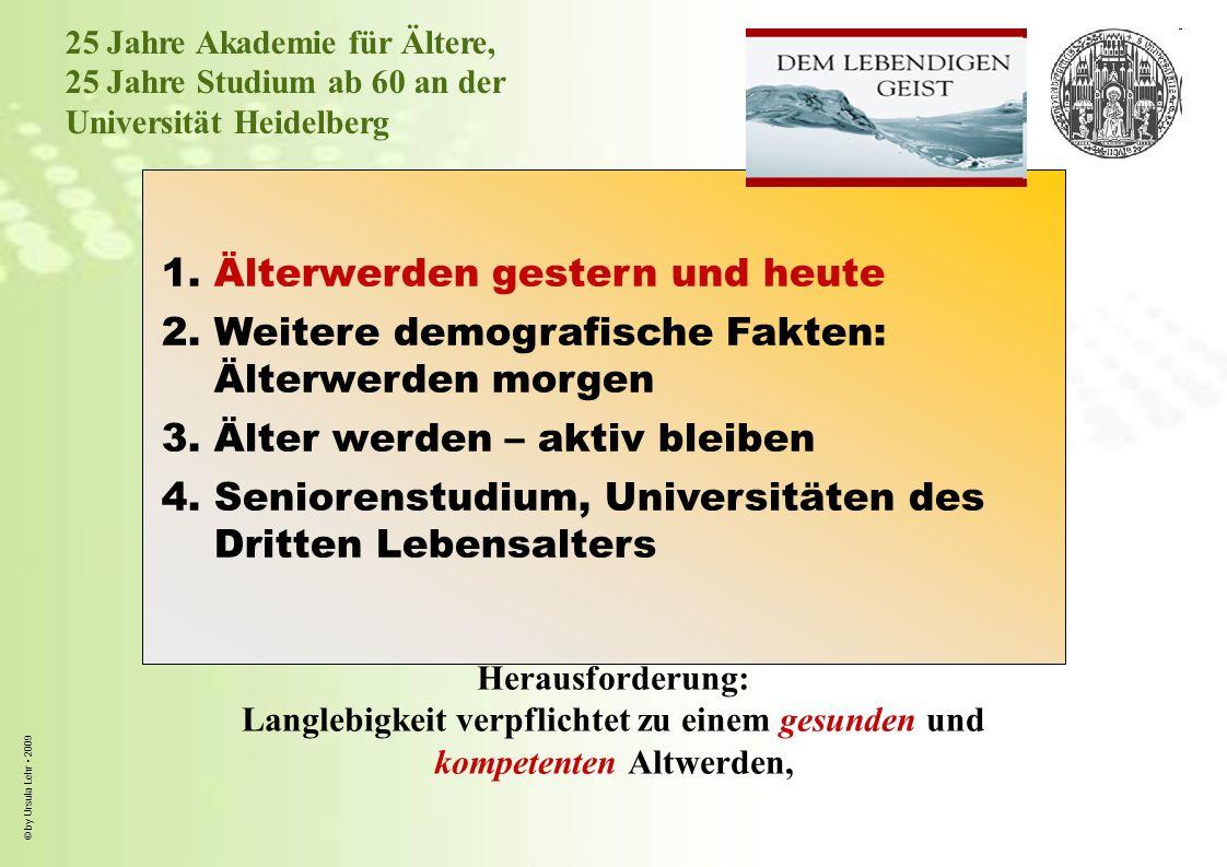 © by Ursula Lehr 2009 2,0 3,4 2,6 1,9 1,6 2,4 2,0 1,4 1,7 2,1 1,8 1,4 1.1 1,4 1,1 0,8 1,0 1,1 1,0 0,8 0-2020-4040-6060-75 79 67 35 9,88 6,99 4,44 3,9 2 7,38 3,9 Quelle: Destatis 2009, Schätzung aufgrund der 12.