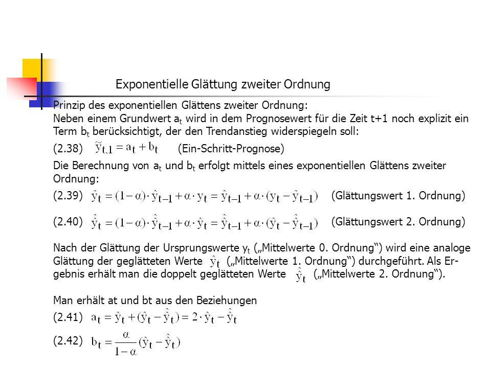 Exponentielle Glättung zweiter Ordnung Prinzip des exponentiellen Glättens zweiter Ordnung: Neben einem Grundwert a t wird in dem Prognosewert für die