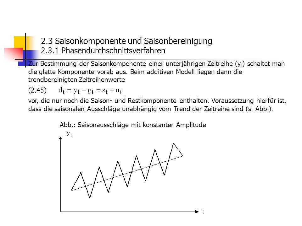 2.3 Saisonkomponente und Saisonbereinigung 2.3.1 Phasendurchschnittsverfahren Zur Bestimmung der Saisonkomponente einer unterjährigen Zeitreihe (y t )
