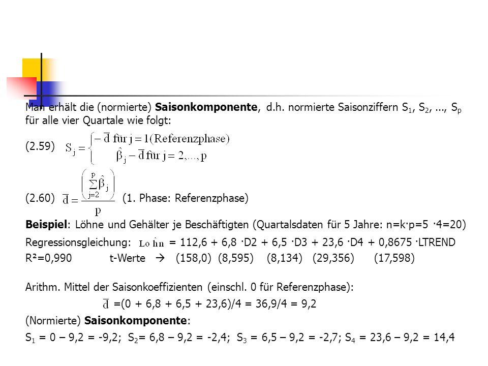 Man erhält die (normierte) Saisonkomponente, d.h. normierte Saisonziffern S 1, S 2,..., S p für alle vier Quartale wie folgt: (2.59) (2.60) (1. Phase: