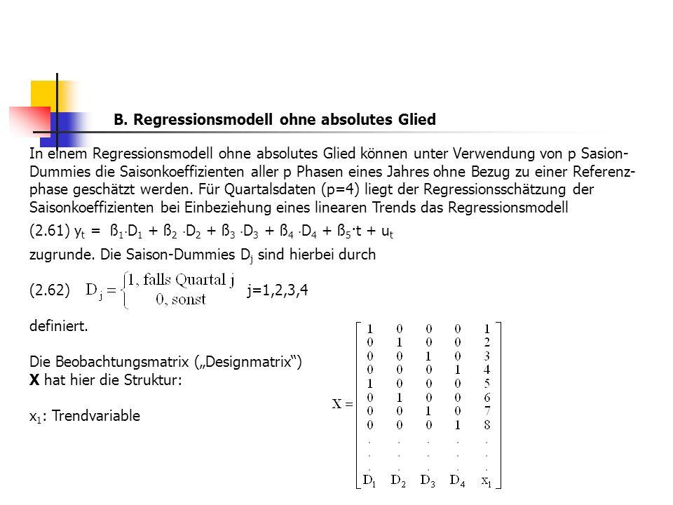 In einem Regressionsmodell ohne absolutes Glied können unter Verwendung von p Sasion- Dummies die Saisonkoeffizienten aller p Phasen eines Jahres ohne