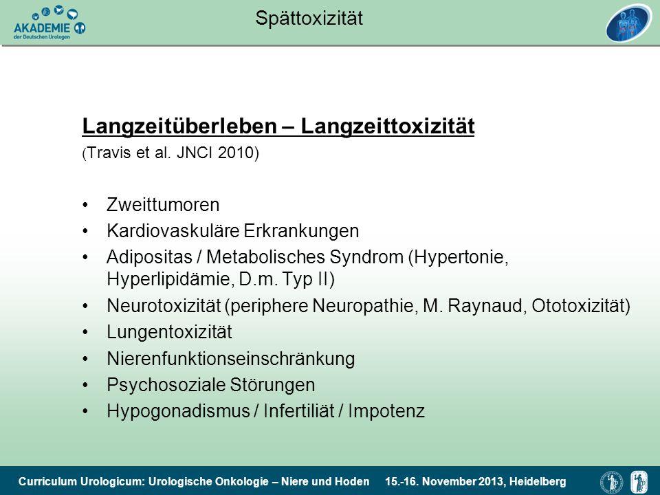 Curriculum Urologicum: Urologische Onkologie – Niere und Hoden 15.-16. November 2013, Heidelberg Spättoxizität Langzeitüberleben – Langzeittoxizität (