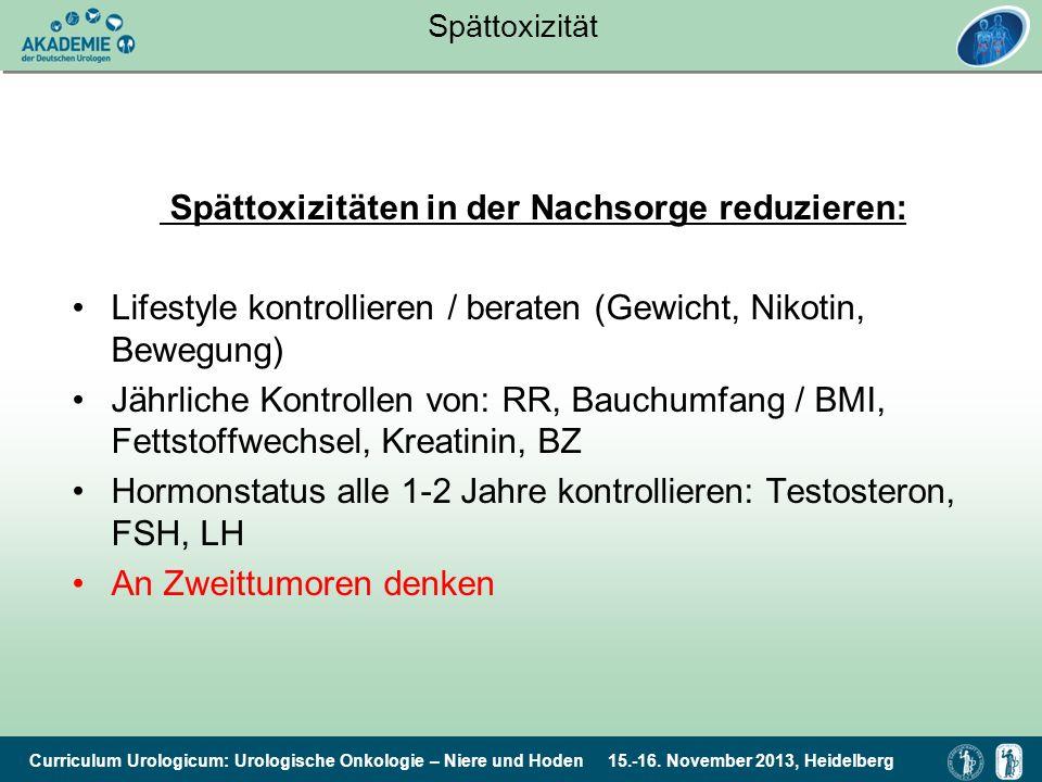Curriculum Urologicum: Urologische Onkologie – Niere und Hoden 15.-16. November 2013, Heidelberg Spättoxizität Spättoxizitäten in der Nachsorge reduzi