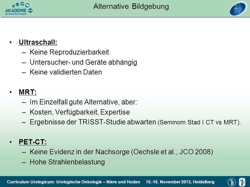 Curriculum Urologicum: Urologische Onkologie – Niere und Hoden 15.-16. November 2013, Heidelberg Alternative Bildgebung Ultraschall: –Keine Reproduzie
