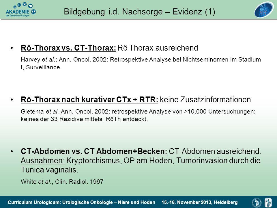 Curriculum Urologicum: Urologische Onkologie – Niere und Hoden 15.-16. November 2013, Heidelberg Bildgebung i.d. Nachsorge – Evidenz (1) Rö-Thorax vs.