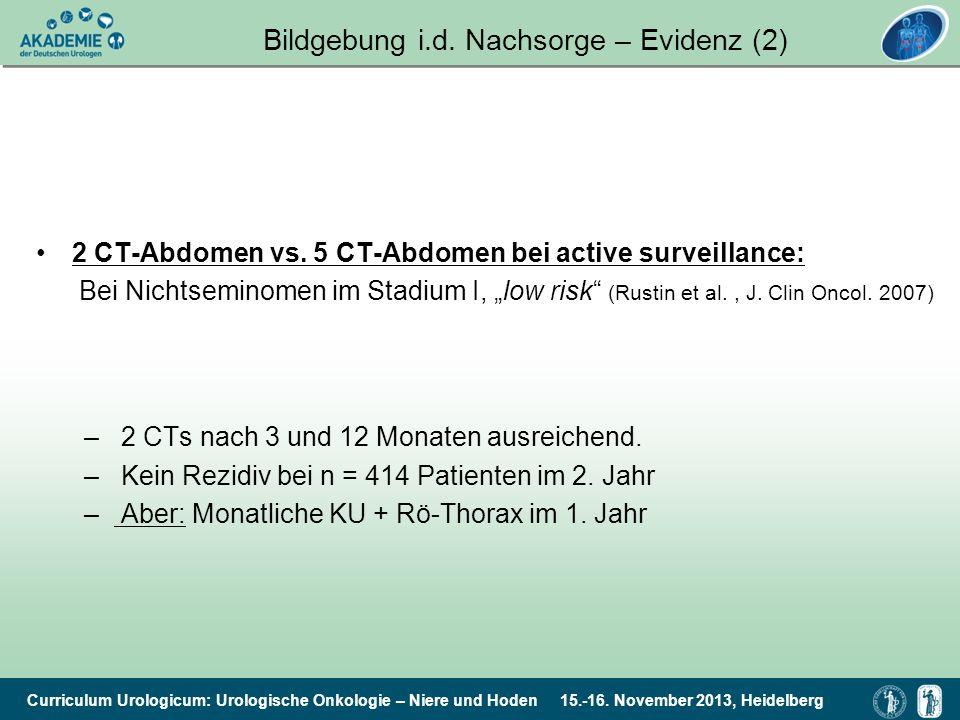 Curriculum Urologicum: Urologische Onkologie – Niere und Hoden 15.-16. November 2013, Heidelberg 2 CT-Abdomen vs. 5 CT-Abdomen bei active surveillance