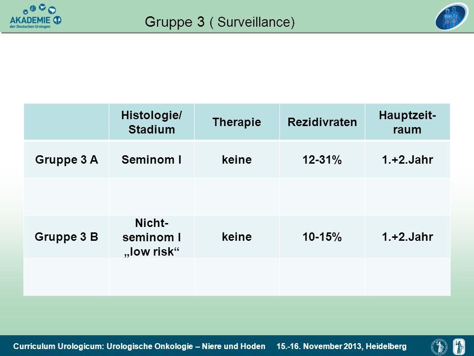 Curriculum Urologicum: Urologische Onkologie – Niere und Hoden 15.-16. November 2013, Heidelberg Gruppe 3 ( Surveillance) Histologie/ Stadium Therapie