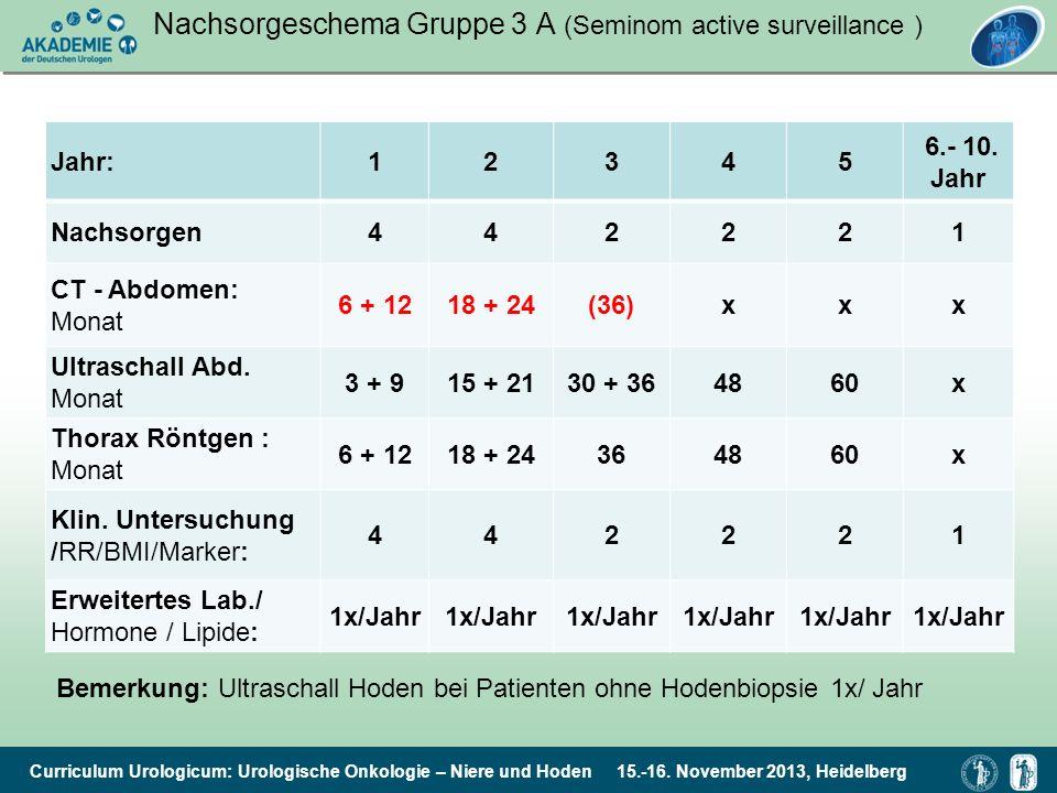 Curriculum Urologicum: Urologische Onkologie – Niere und Hoden 15.-16. November 2013, Heidelberg Nachsorgeschema Gruppe 3 A (Seminom active surveillan