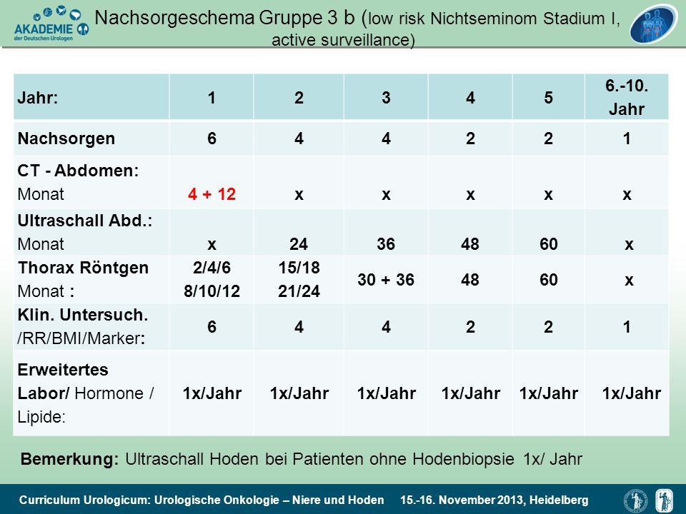 Curriculum Urologicum: Urologische Onkologie – Niere und Hoden 15.-16. November 2013, Heidelberg Nachsorgeschema Gruppe 3 b ( low risk Nichtseminom St