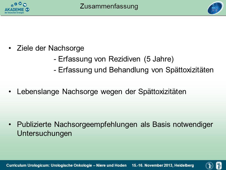 Curriculum Urologicum: Urologische Onkologie – Niere und Hoden 15.-16. November 2013, Heidelberg Zusammenfassung Ziele der Nachsorge - Erfassung von R