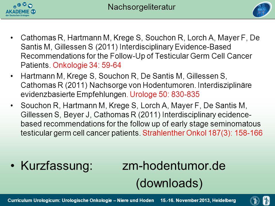 Curriculum Urologicum: Urologische Onkologie – Niere und Hoden 15.-16. November 2013, Heidelberg Nachsorgeliteratur Cathomas R, Hartmann M, Krege S, S