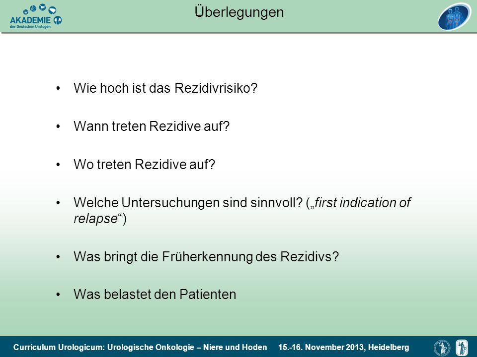 Curriculum Urologicum: Urologische Onkologie – Niere und Hoden 15.-16. November 2013, Heidelberg Überlegungen Wie hoch ist das Rezidivrisiko? Wann tre