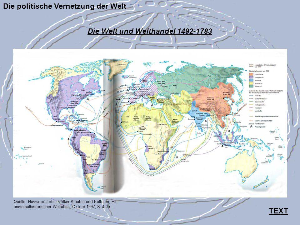 Die politische Vernetzung der Welt Quelle: Haywood John; Völker Staaten und Kulturen; Ein universalhistorischer Weltatlas; Oxford 1997; S. 4.05 Die We