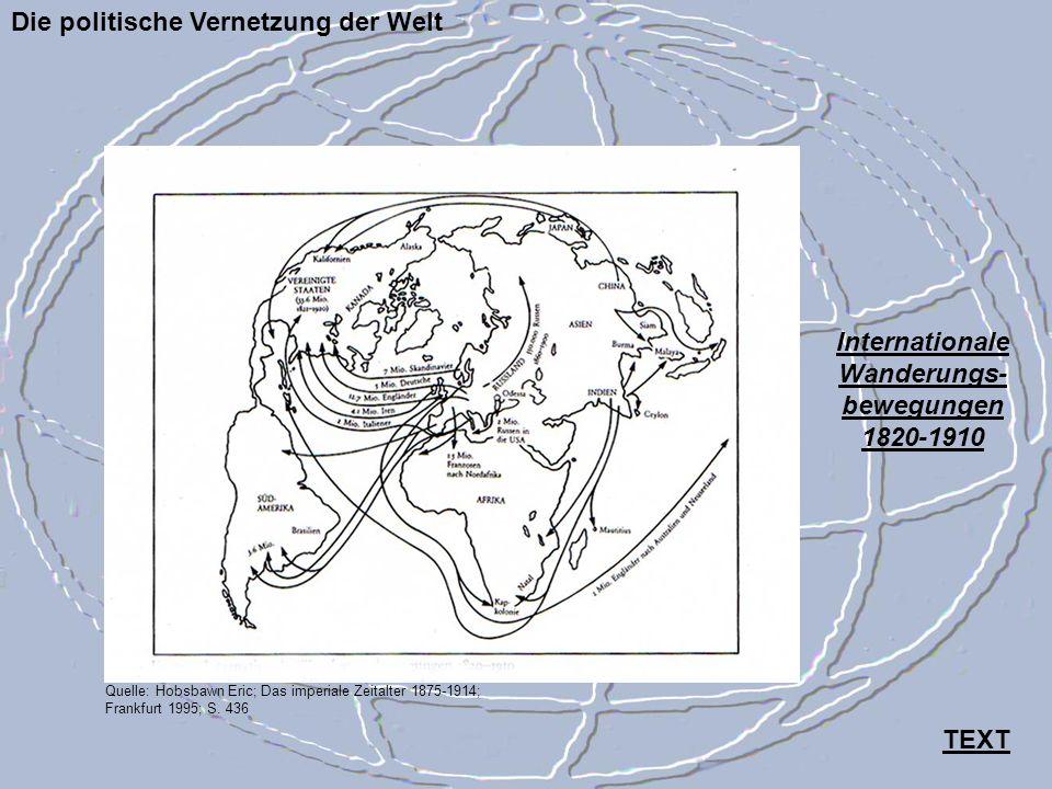 Die politische Vernetzung der Welt Quelle: Hobsbawn Eric; Das imperiale Zeitalter 1875-1914; Frankfurt 1995; S. 436 Internationale Wanderungs- bewegun